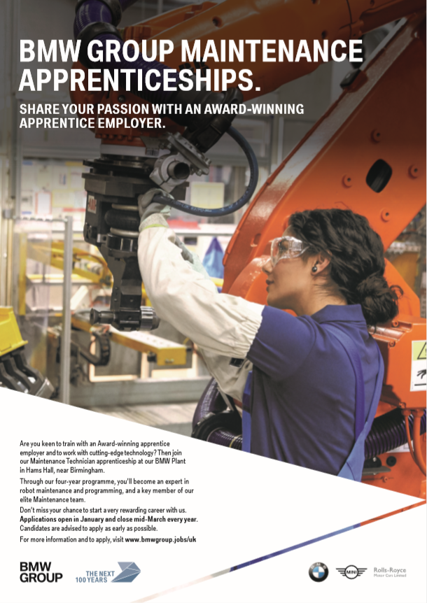 BMW Group Maintenance Apprenticeships Poster