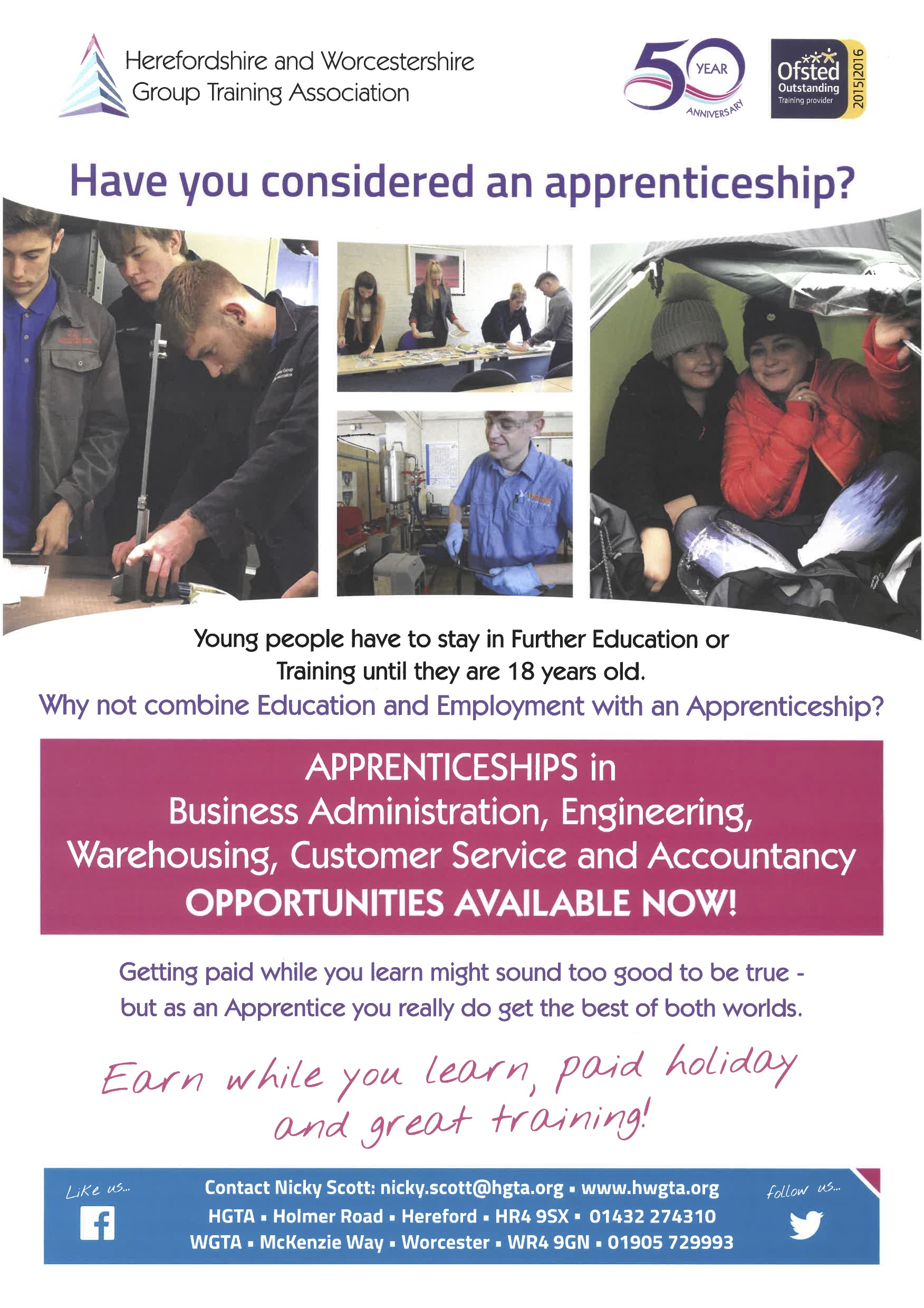 HWGTA Apprentice Recruitment Poster